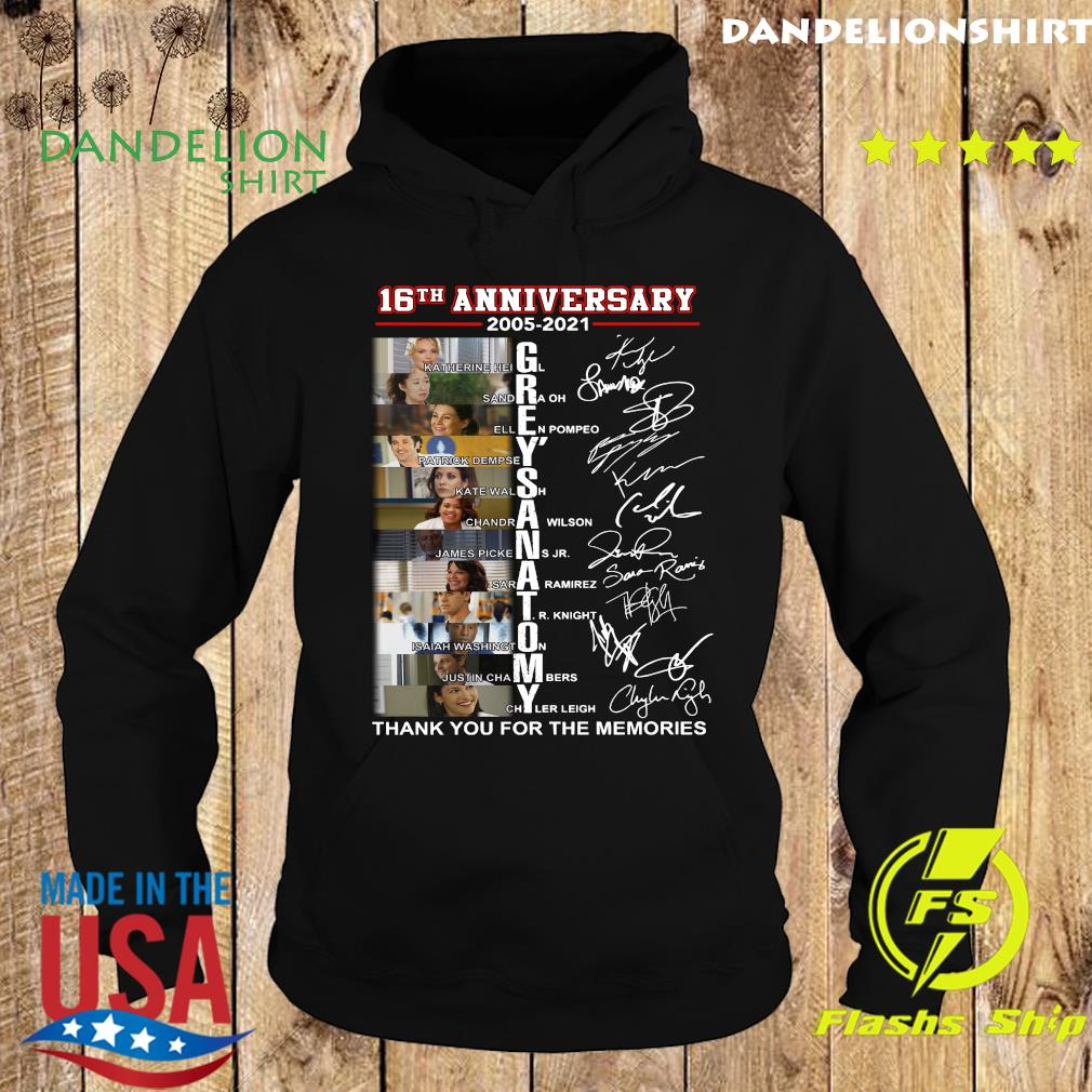 16th Anniversary 2005 2021 Of Grey's Anatomy Character Signatures Thanks For The Memories Shirt Hoodie