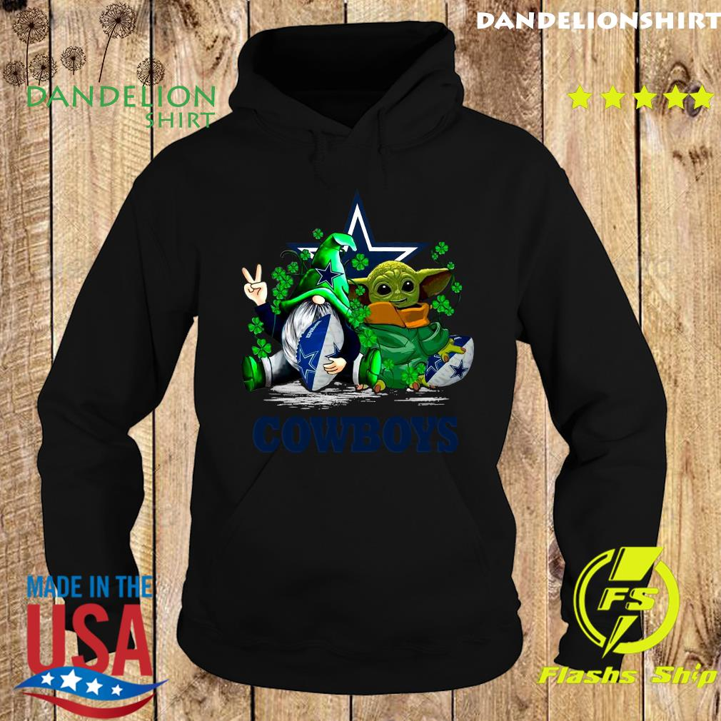 Dallas Coboys With Gnome And Star Wars Baby Yoda Happy St Patrick's Day Shirt Hoodie