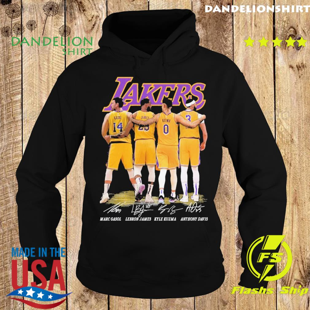 Gasol and James and Kuzma and Davis Lakers signatures 2021 s Hoodie