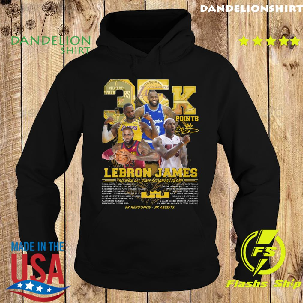 Official 35k Lebron James 3rd Nba Time Scoring Leader 9k Rebounds 9k Assists Shirt Hoodie