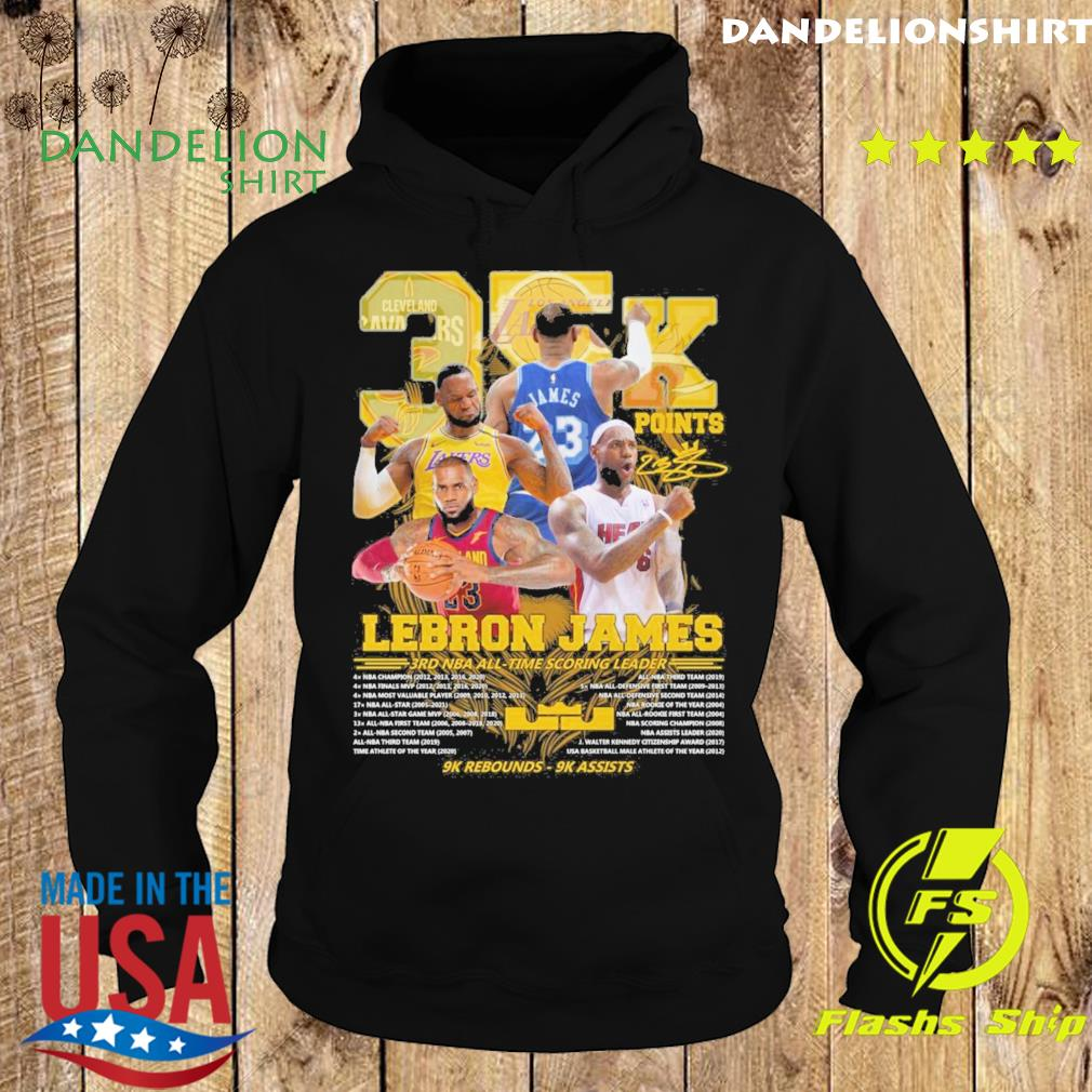 Official 35k Lebron James 3rd NBA time scoring leader 9k Rebounds 9k assists s Hoodie