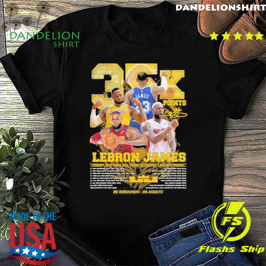 Official 35k Lebron James 3rd NBA time scoring leader 9k Rebounds 9k assists shirt