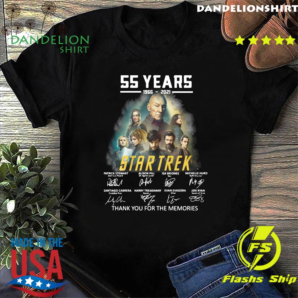Official 55 years 1966 2021 Of The Star Trek Movie Characters signature thank you for the memories shirt