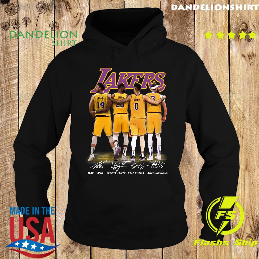 Official Gasol And James And Kuzma And Davis Lakers Signatures 2021 Shirt Hoodie
