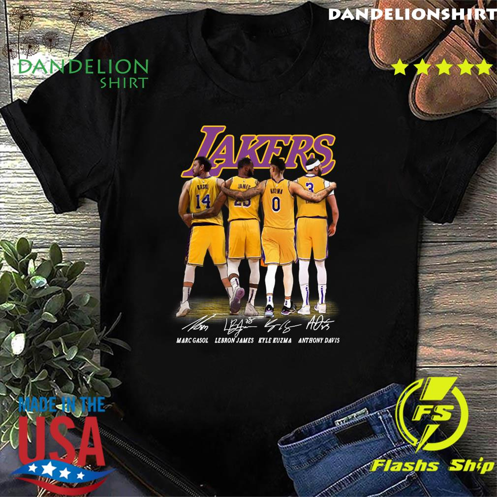 Official Gasol And James And Kuzma And Davis Lakers Signatures 2021 Shirt