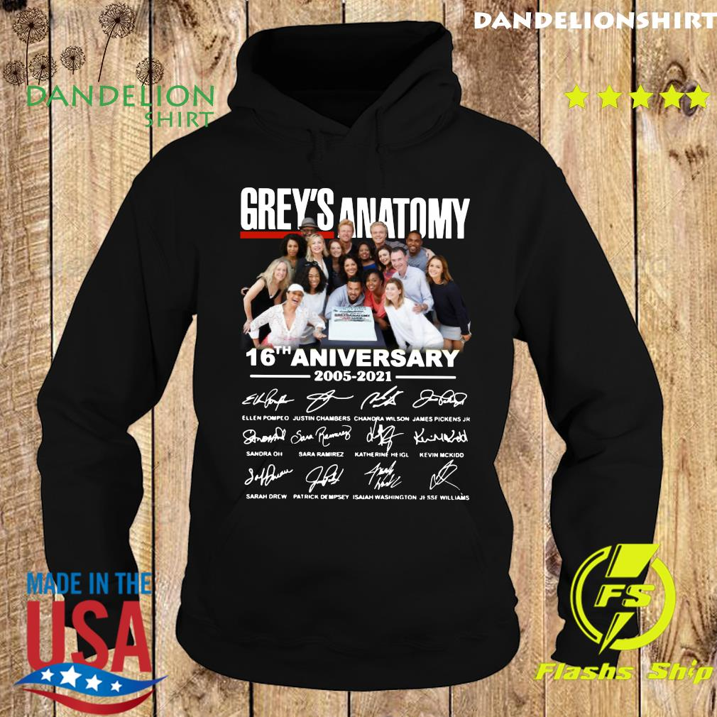 Official The Grey's Anatomy Character 16th Anniversary 2005 2021 Signatures Thanks For The Memories Shirt Hoodie