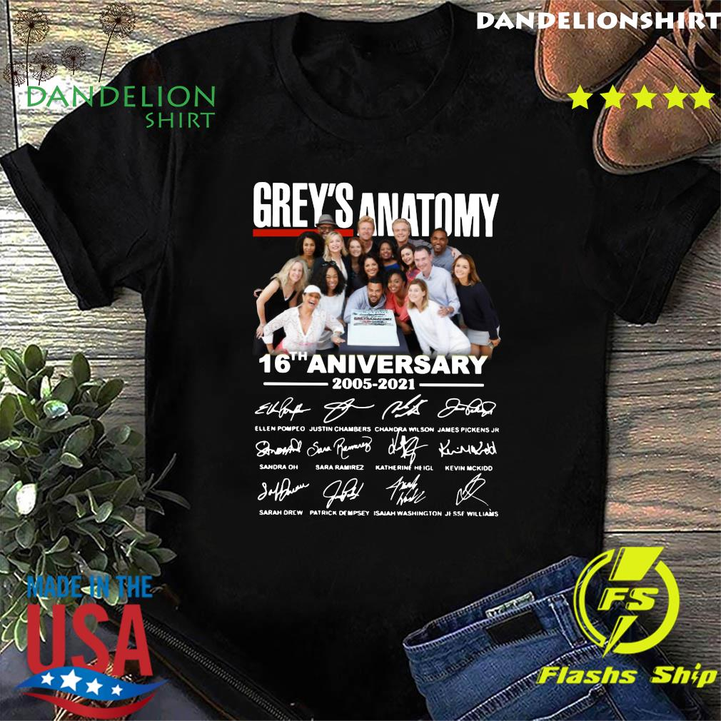 Official The Grey's Anatomy Character 16th Anniversary 2005 2021 Signatures Thanks For The Memories Shirt