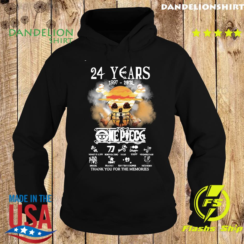 Official The One Piece 24 Years 1997 2021 Signatures Thanks For The Memories Shirt Hoodie