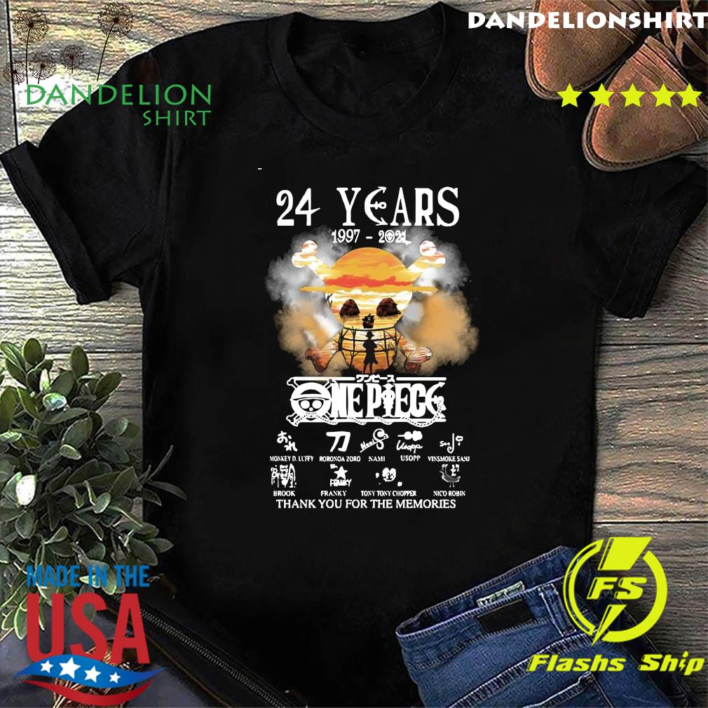 Official The One Piece 24 Years 1997 2021 Signatures Thanks For The Memories Shirt