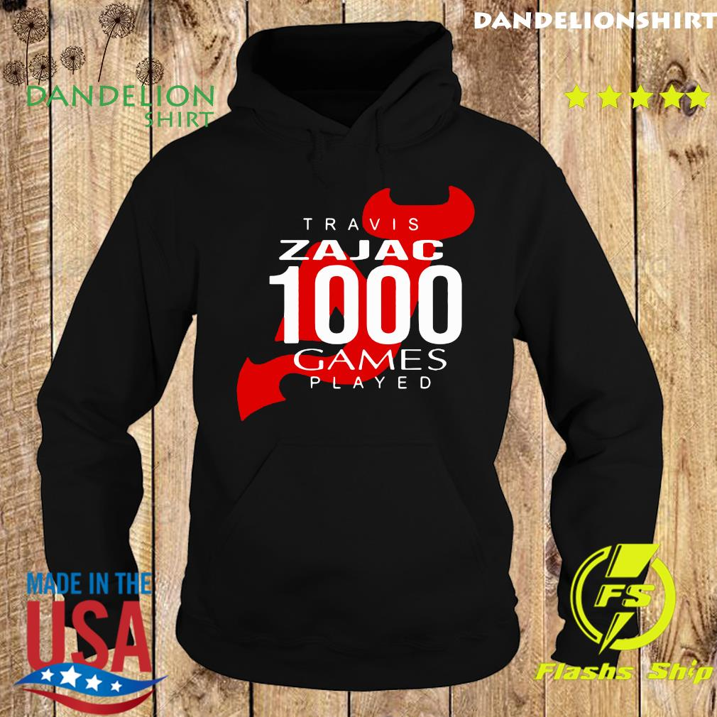 Official Travis Zajac 1000 Game Played Shirt Hoodie