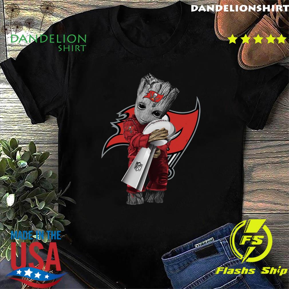 Official Tampa Bay Buccaneer With Groot Hug Nfl Cup Champions Shirt