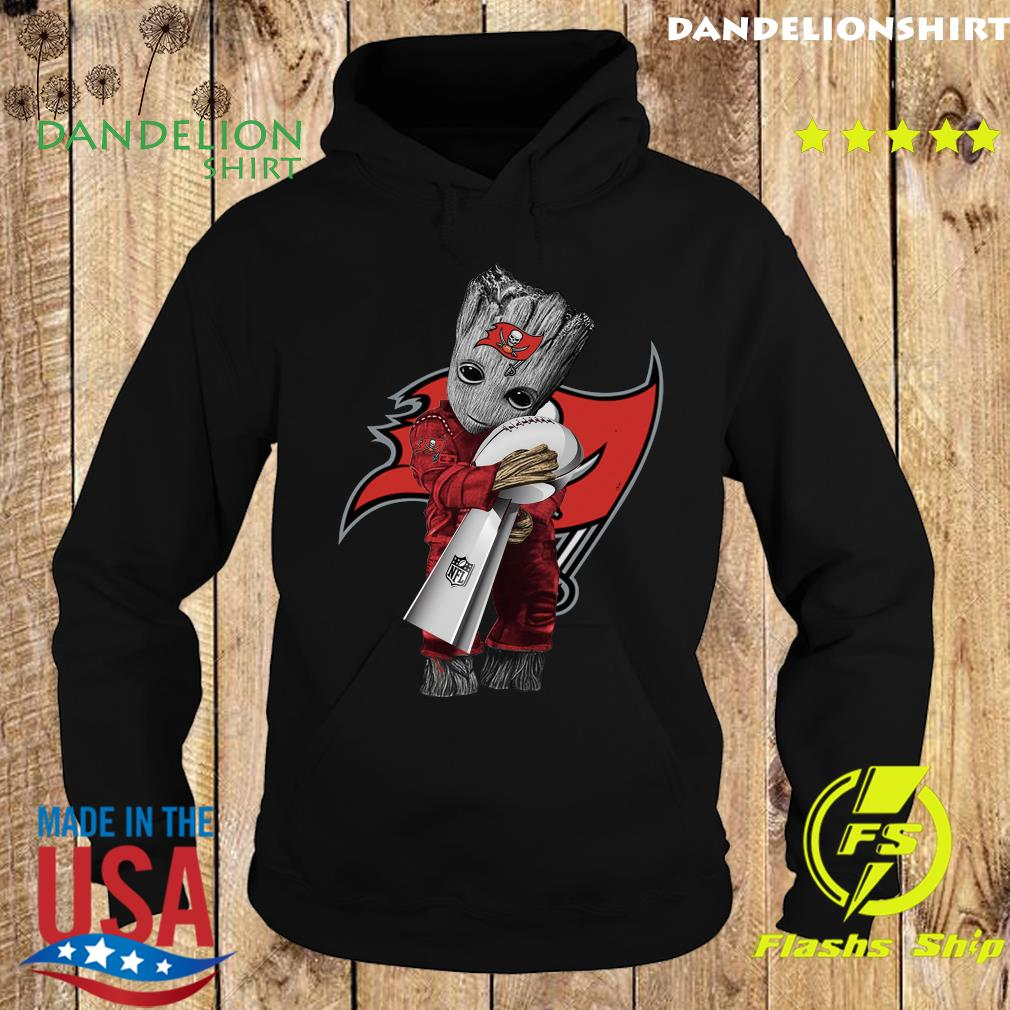 Official Tampa Bay Buccaneer With Groot Hug Nfl Cup Champions Shirt Hoodie