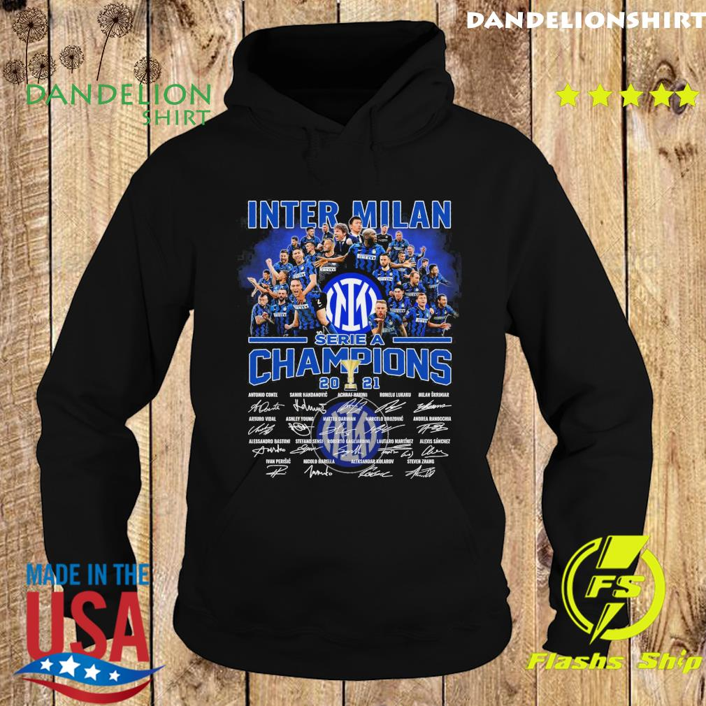 Inter Milan Team Football Serie A Champions 2021 Signatures Shirt Hoodie