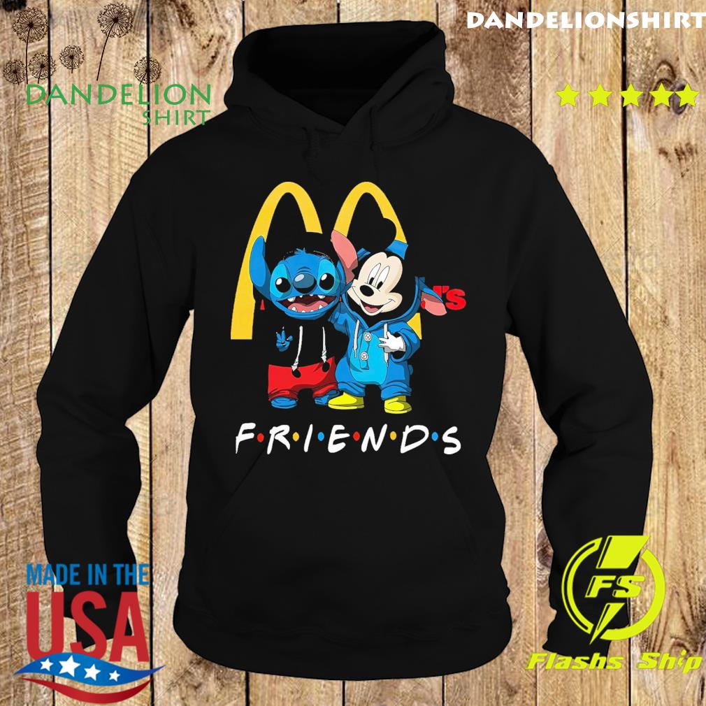 Official Disney Mickey Mouse And Baby Stitch Friends With Mc donalds Shirt Hoodie