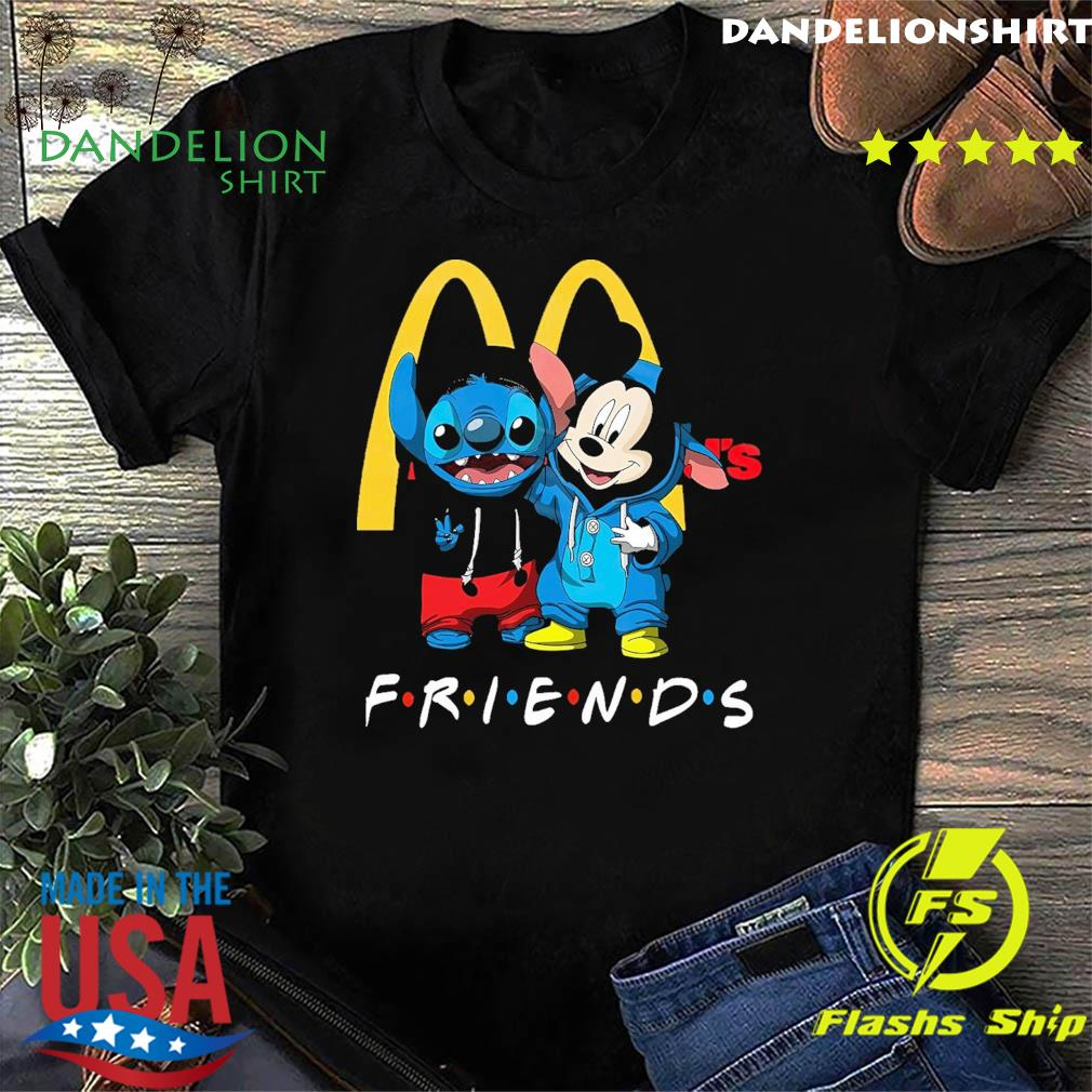 Official Disney Mickey Mouse And Baby Stitch Friends With Mc donalds Shirt