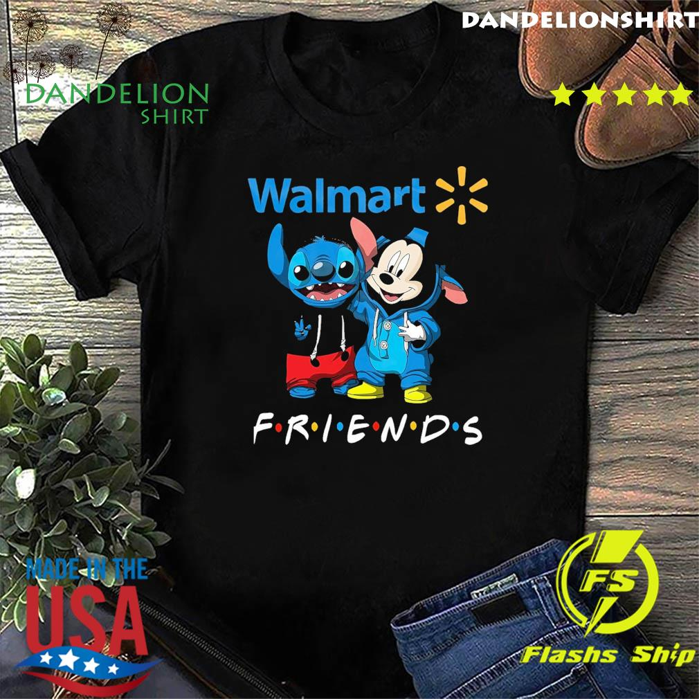 Official disney mickey mouse and baby stitch friends with Walmart shirt