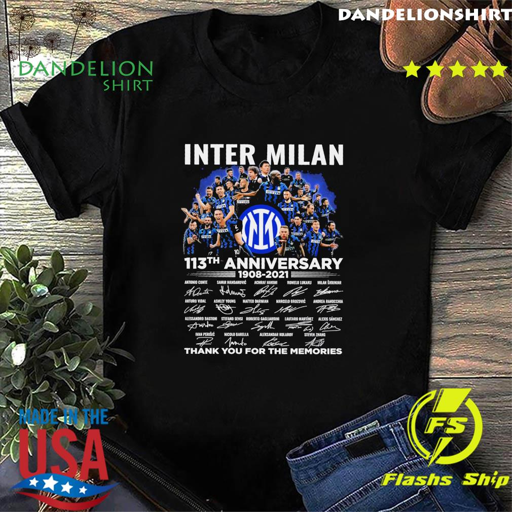 Official Inter Milan 113th Anniversary 1908 2021 Signatures Thank You For The Memories Shirt