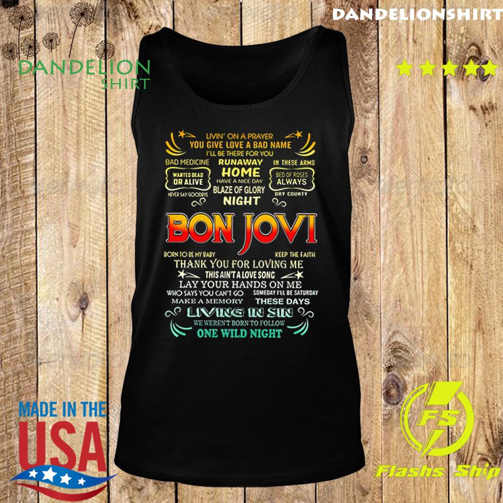 Bon Jovi livin_ on a prayer you give love a bad name s Tank top
