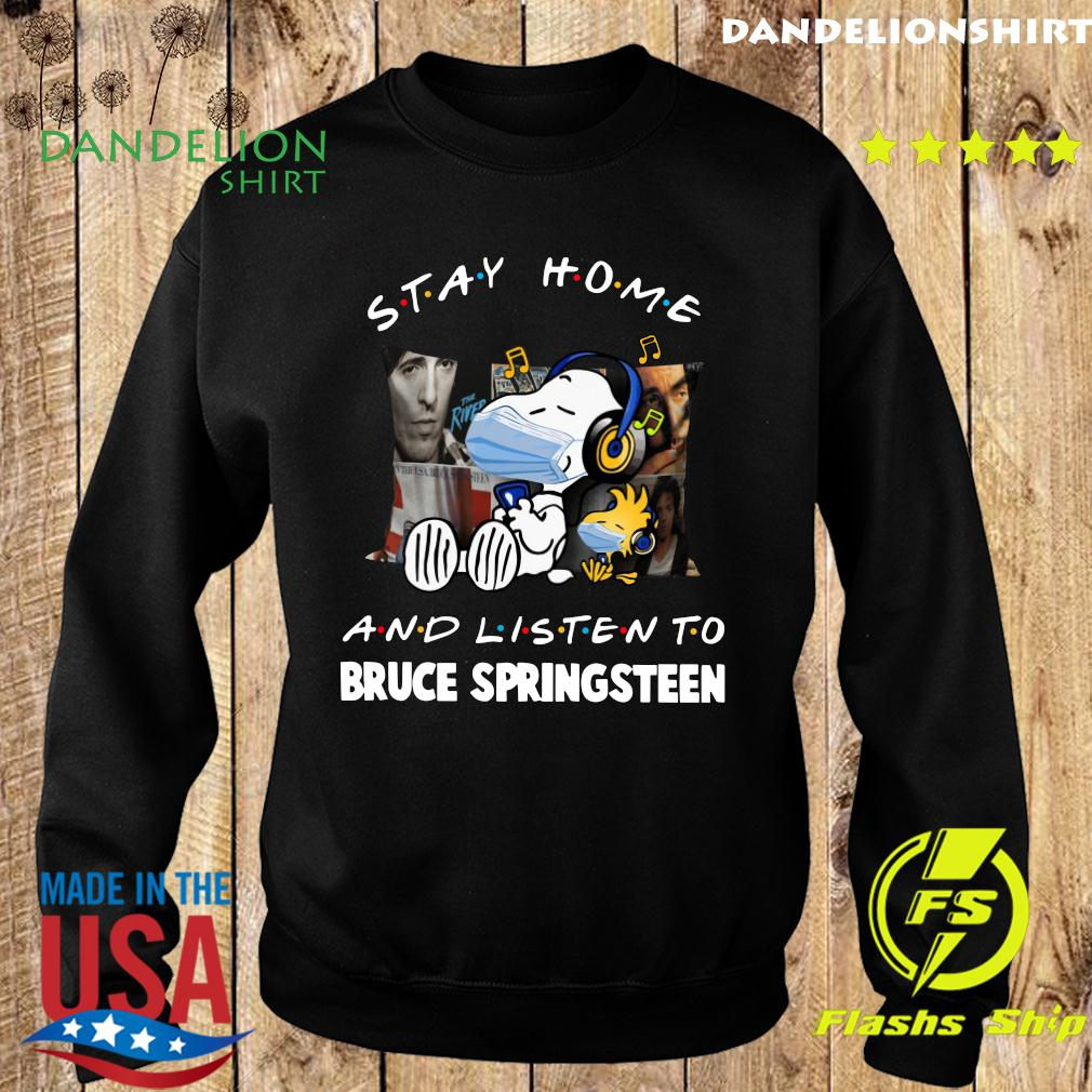 Snoopy Face Mask Stay Home And Listen To Bruce Springsteen Shirt Sweater