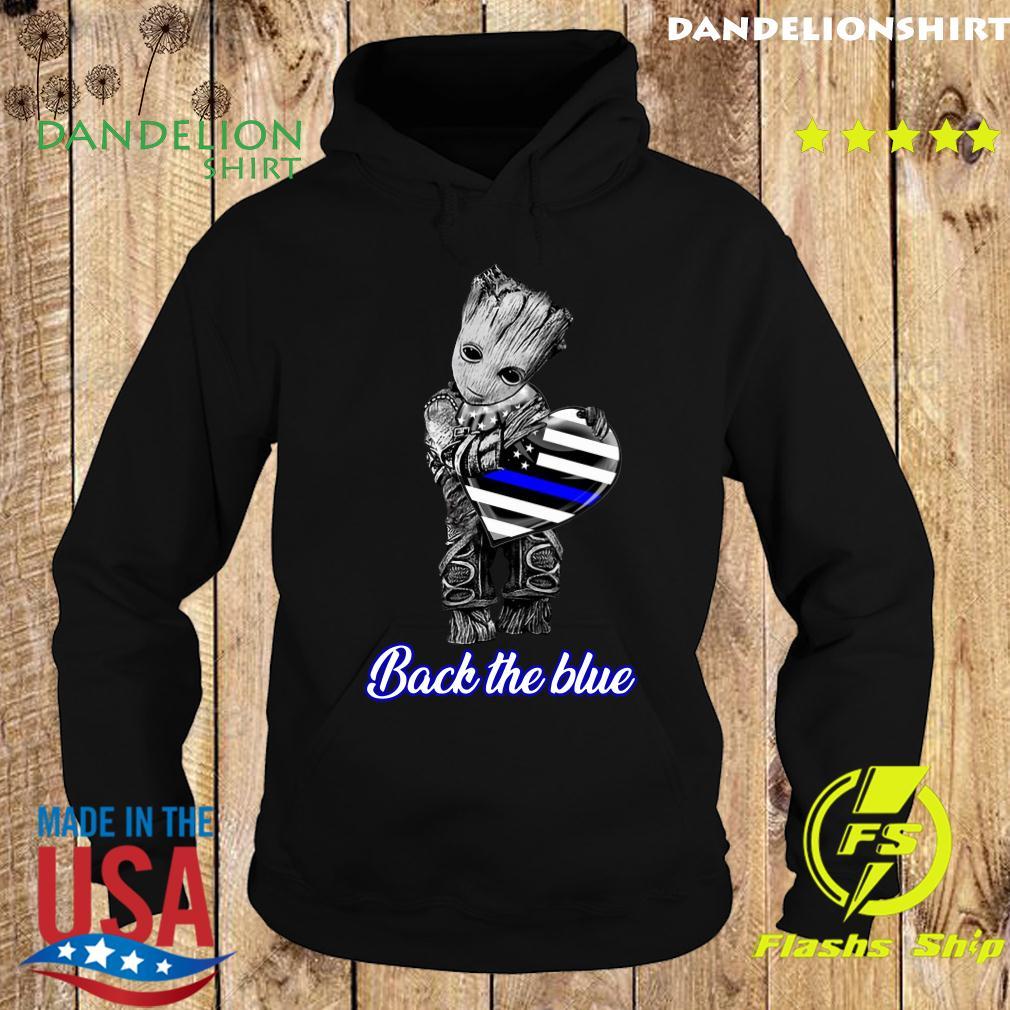 Baby Groot Hug Heart American Flag Back The Blue Shirt Hoodie