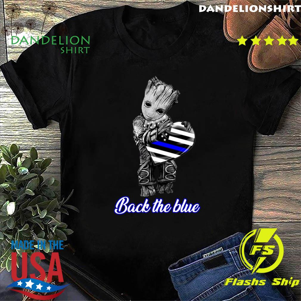 Baby Groot Hug Heart American Flag Back The Blue Shirt