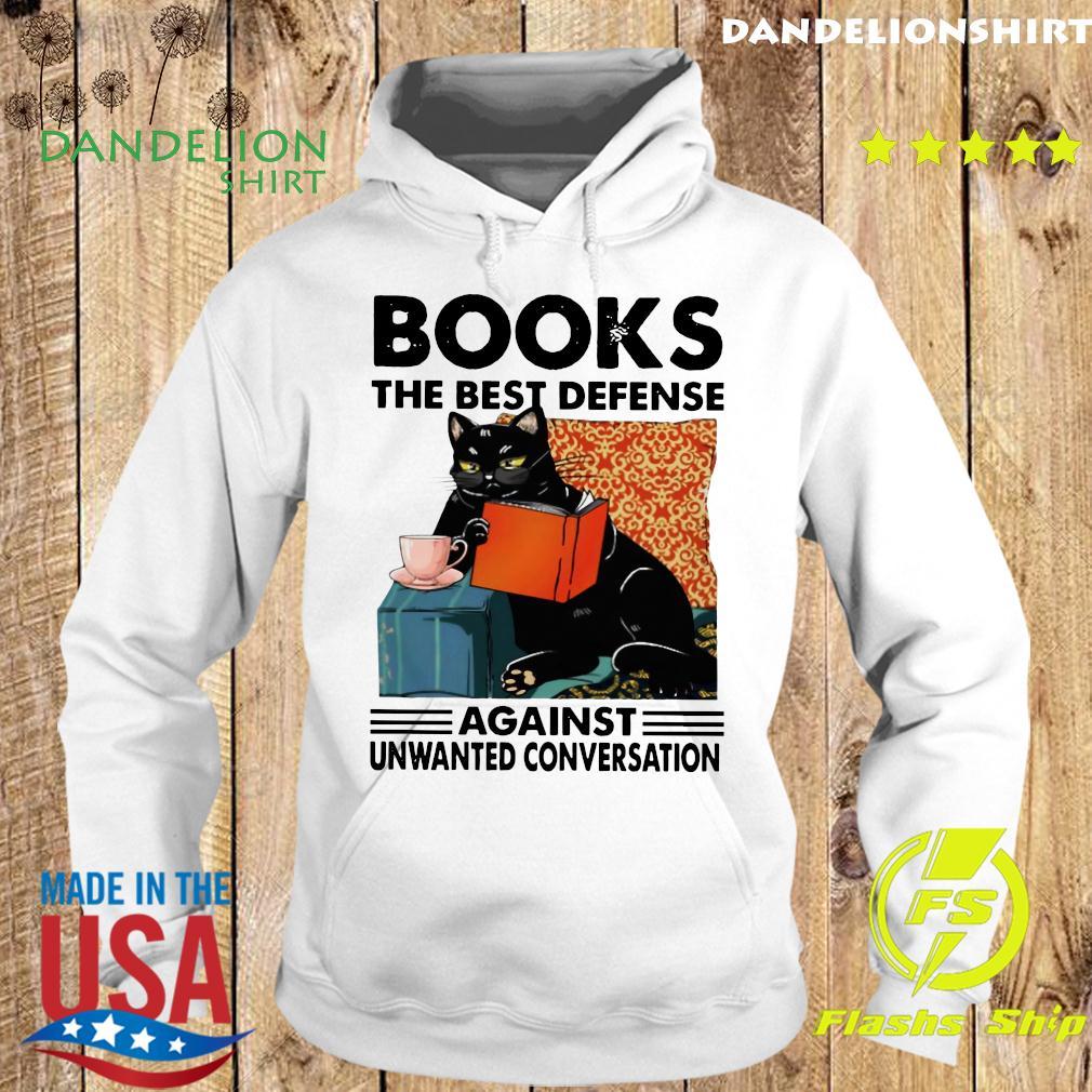 Black Cat Books The Best Defense Against Unwanted Conversation Shirt Hoodie