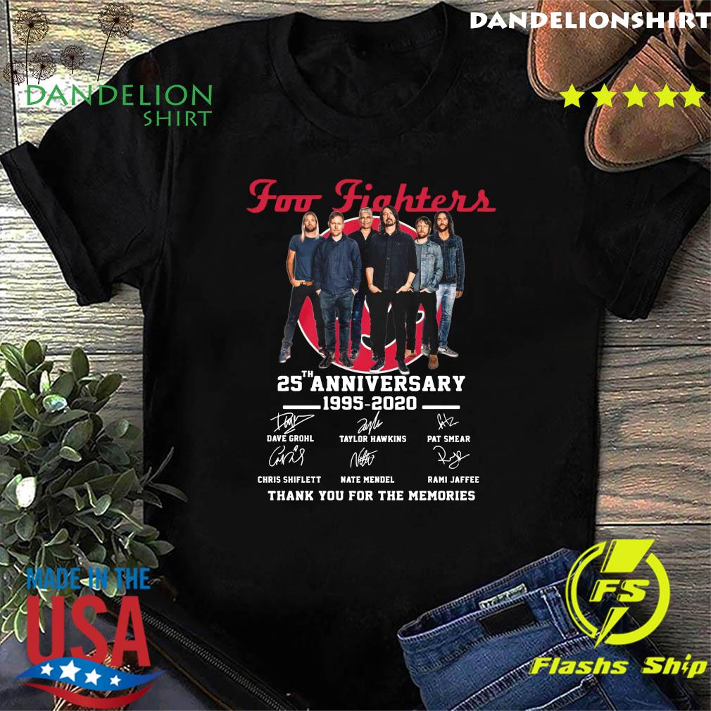 Foo Fighters 25th Anniversary 1995 2020 Thank You For The Memories Signatures Shirt