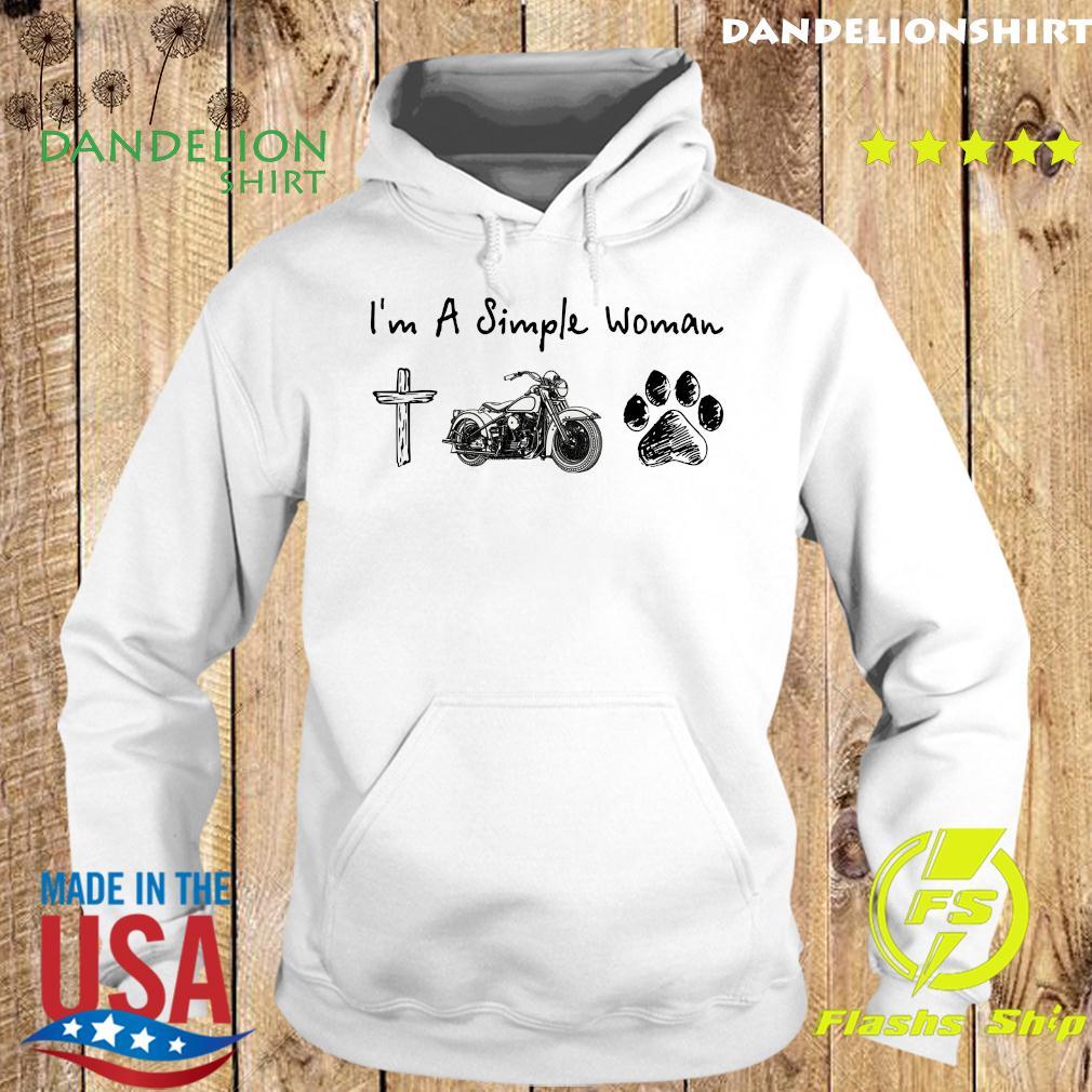 I'm A Simple Woman Jesus Motorcycle Dog Paw Shirt Hoodie