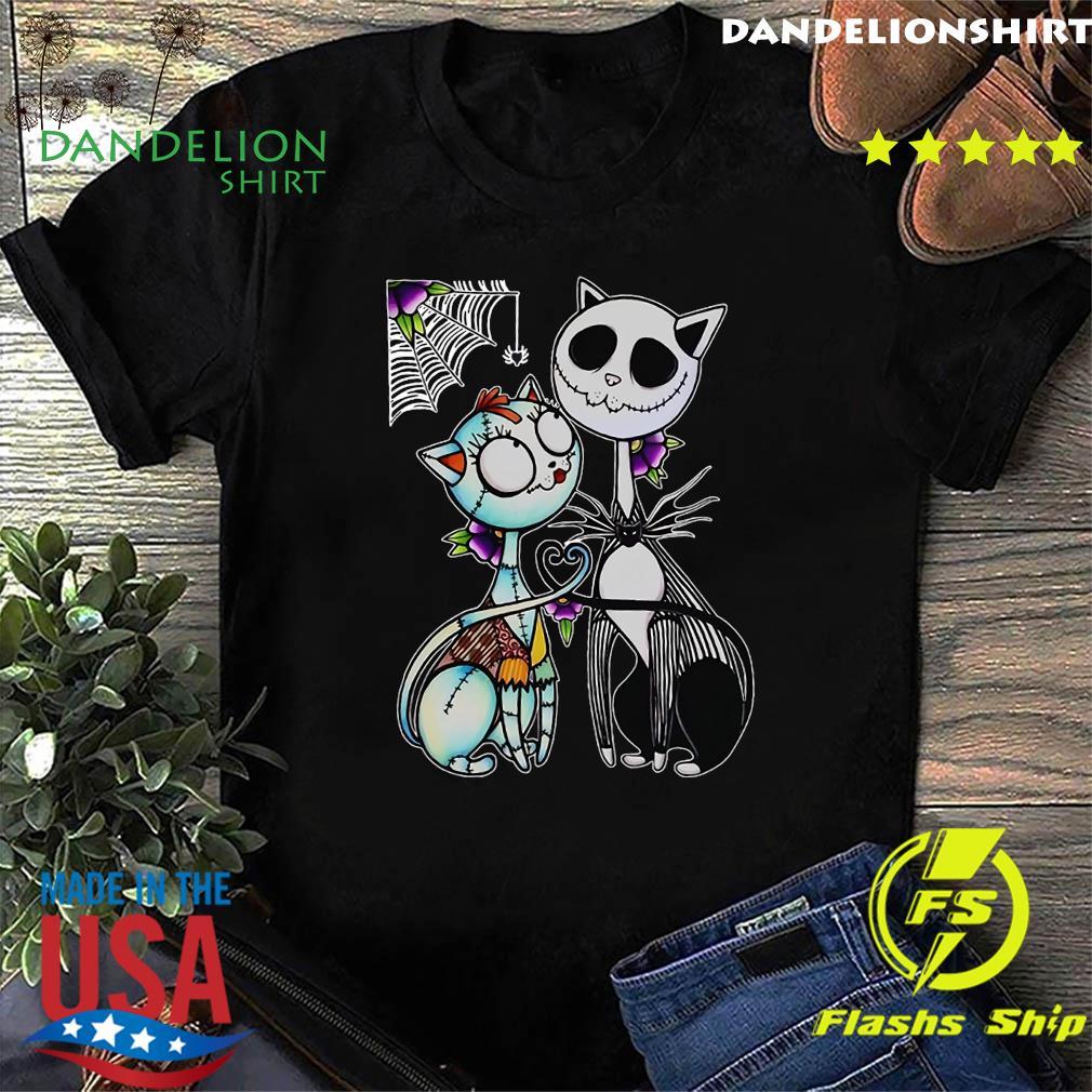 Jack Skellington and Sally cat Halloween shirt