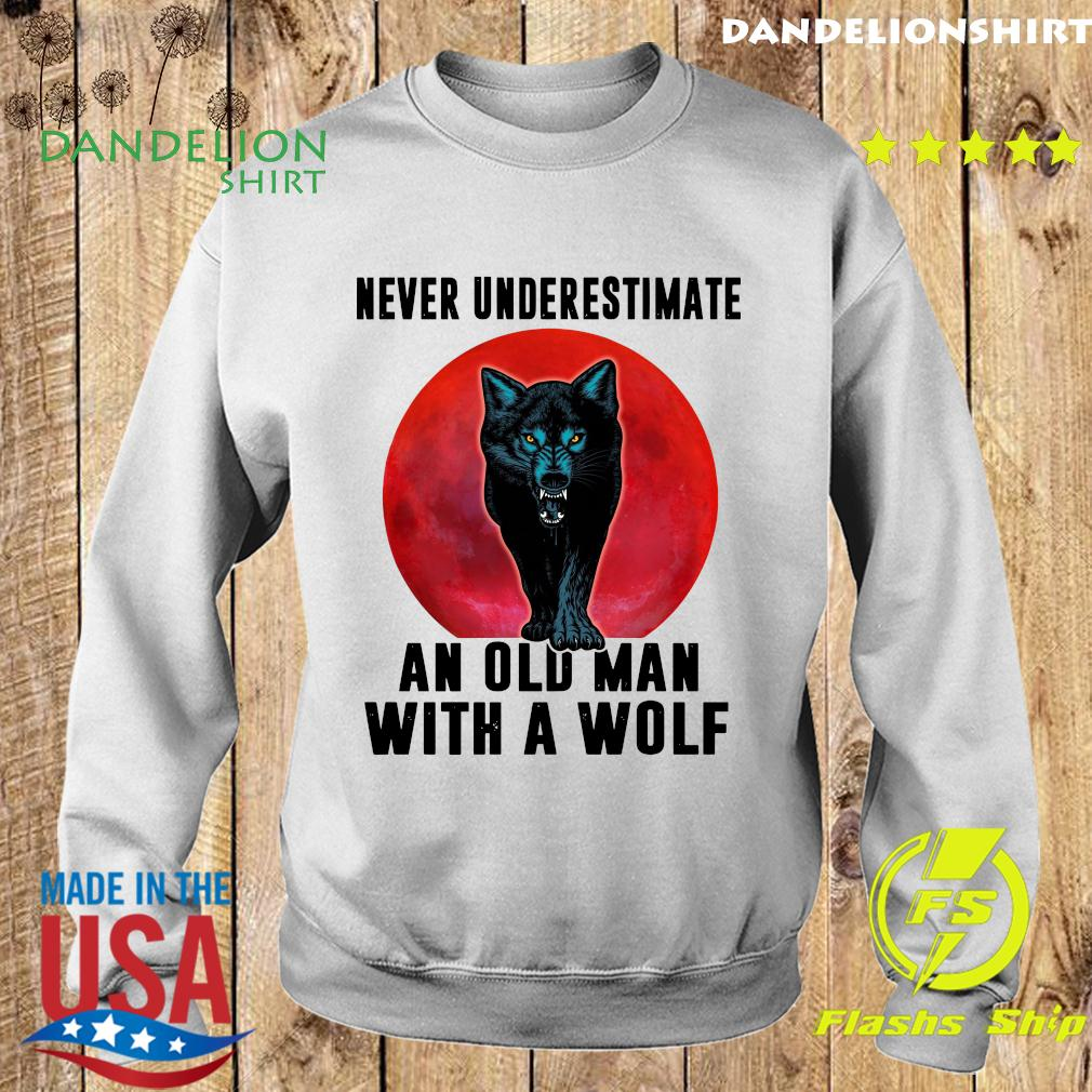 Never Underestimate An Old Man With A Wolf Moon Shirt Sweater
