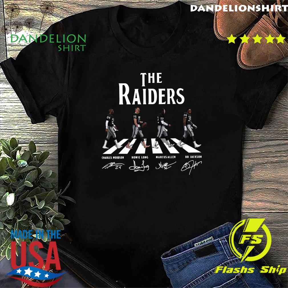 The Raiders Walking The Abbey Road Bo Jackson Marcus Allen Signatures Shirt