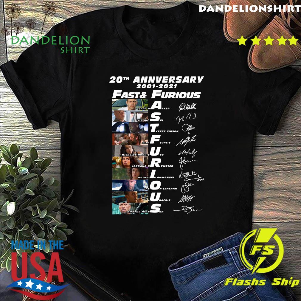 20th Anniversary 2001 2021 Fast And Furious Paul Walker Vin Diesel Dwayne Johnson Signatures Shirt