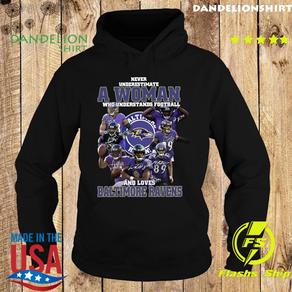 Never Underestimate A Woman Who Understands Football And Loves Baltimore Ravens Signatures Shirt Hoodie