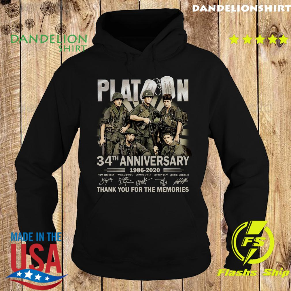Platoon 34th Anniversary Thank You For The Memories Signatures Shirt Hoodie