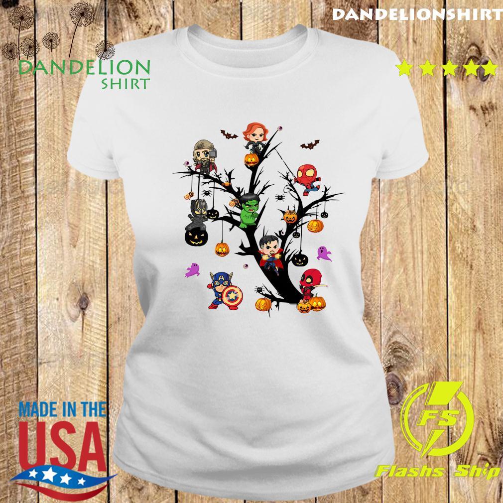Avengers Superheroes Tree Halloween Pumpkin Shirt Ladies tee