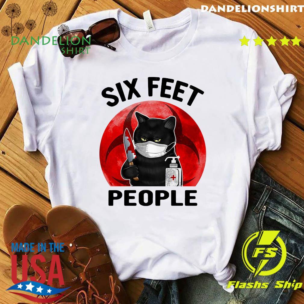 Black Cat Face Mask Knife Blood Six Feet People Moon Shirt
