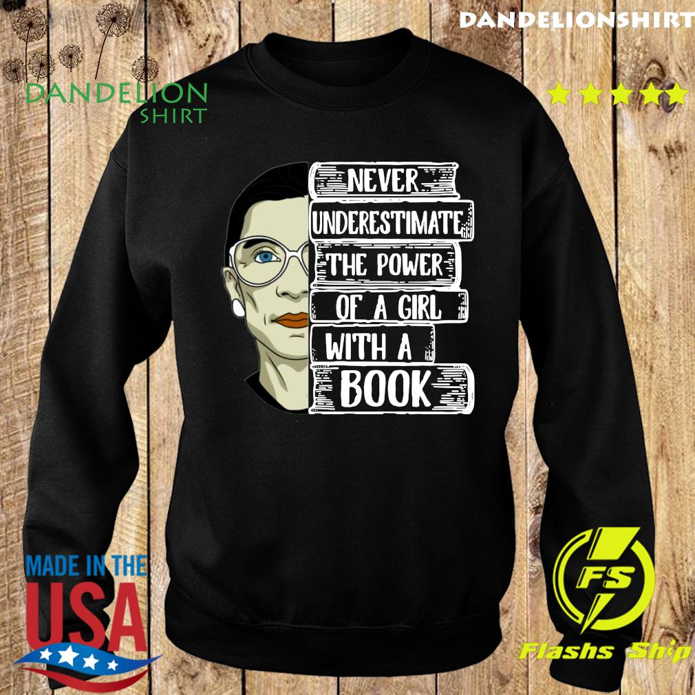 Official Ruth Bader Ginsburg RBG Never Underestimate The Power Of A Girl With A Book Shirt Sweater