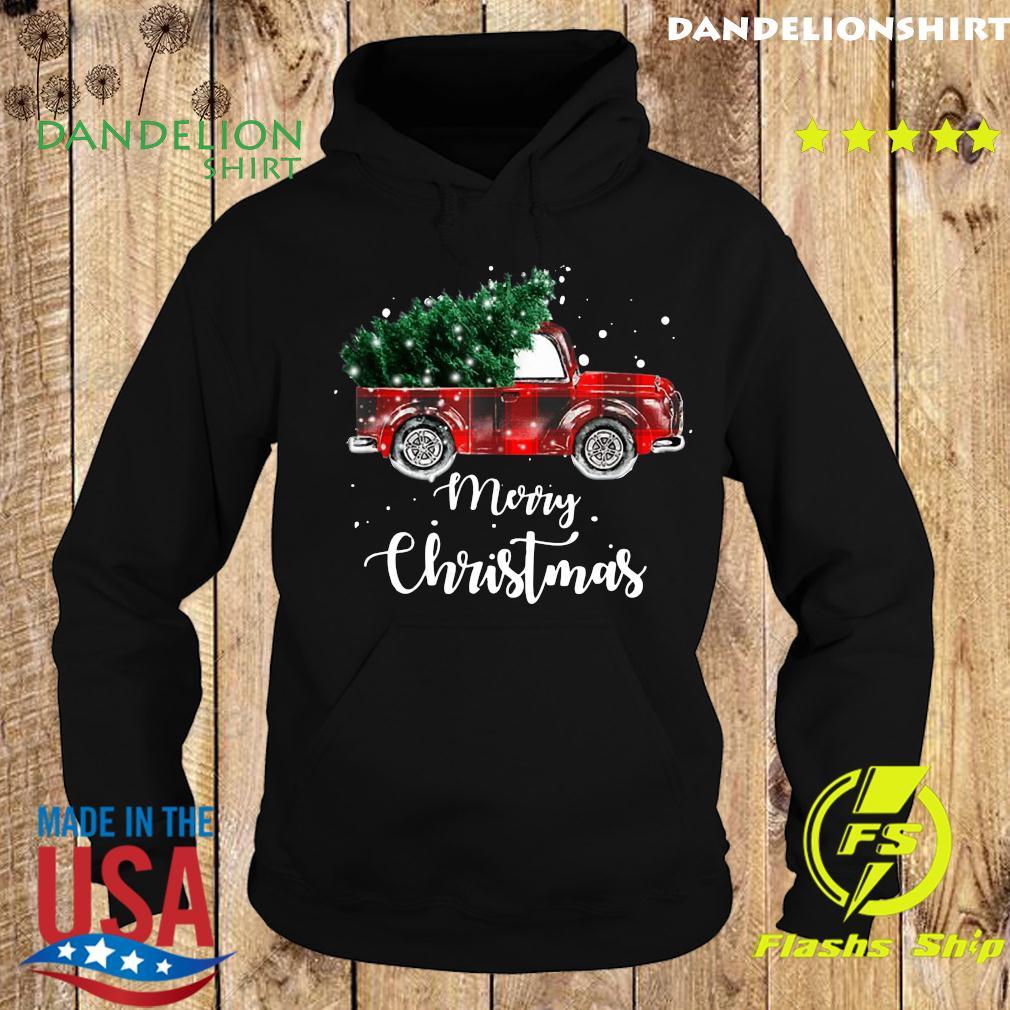 Buffalo Plaid Christmas Tree Red Truck Sweats Hoodie
