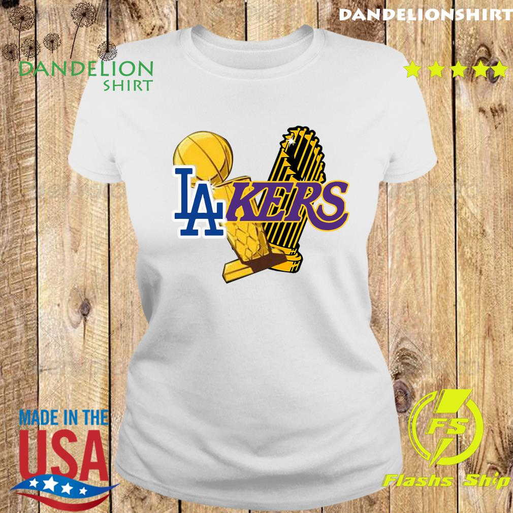 Dodgers Lakers 2020 World Champions Trophies Champions Shirt Ladies tee