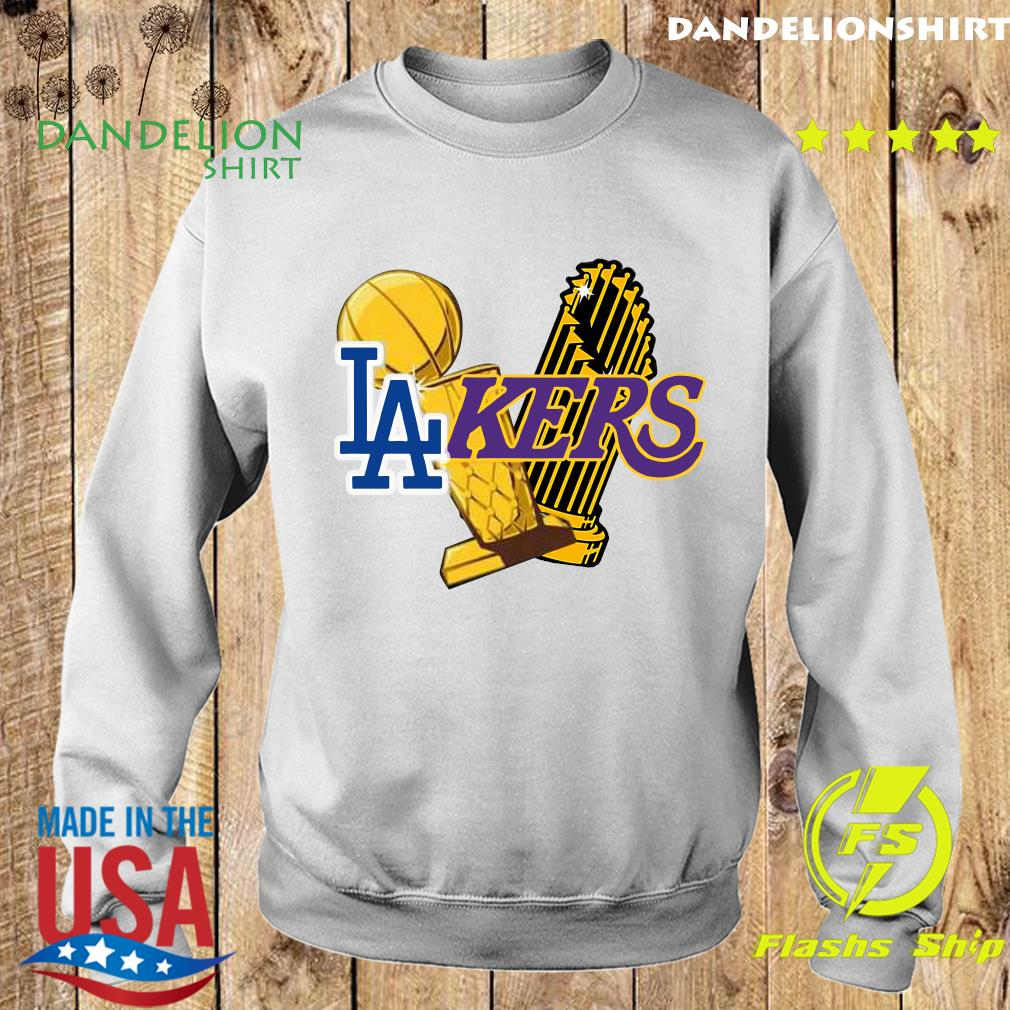 Dodgers Lakers 2020 World Champions Trophies Champions Shirt Sweater