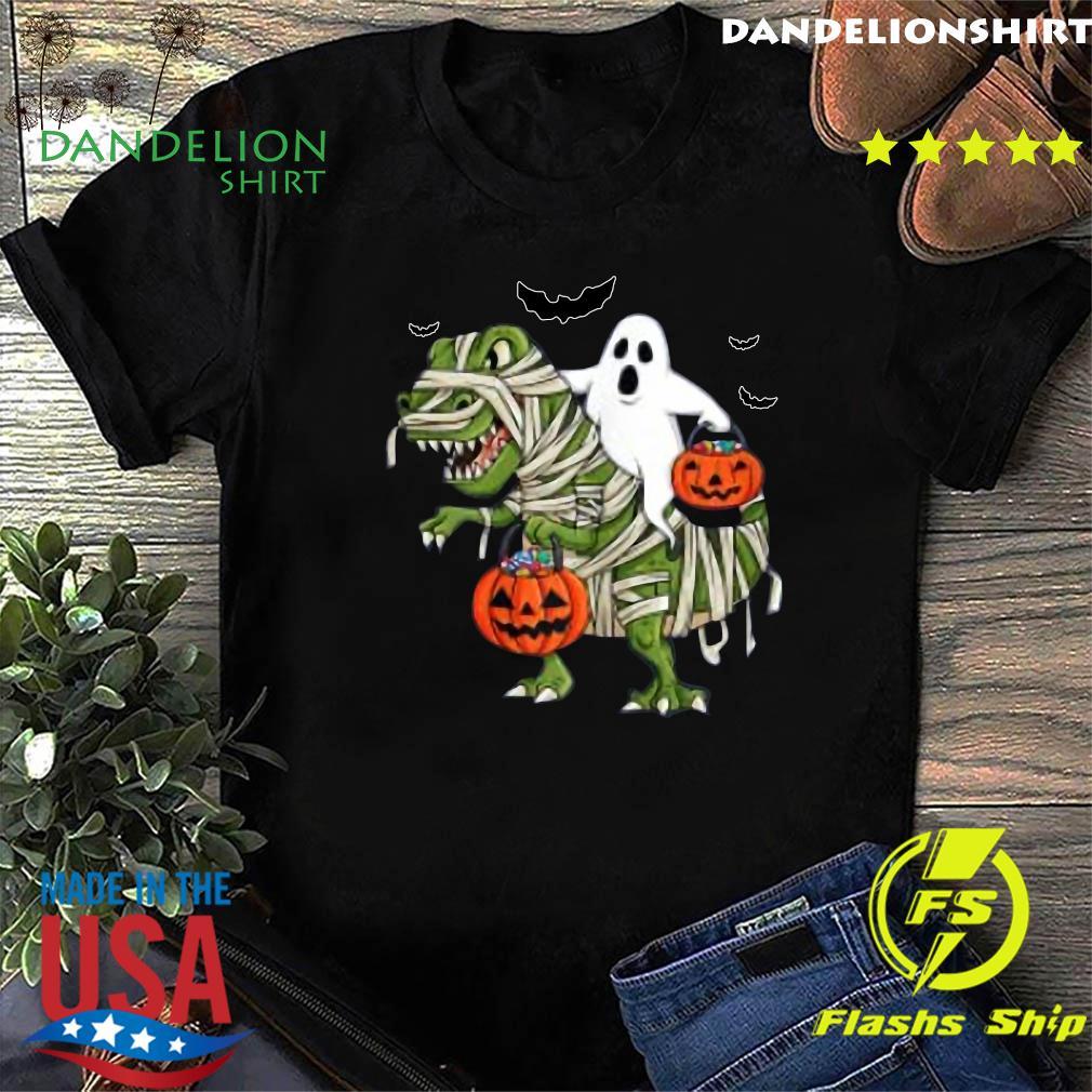 Halloween Ghost Riding T Rex Funny Boys Girls Kids Gift 2020 Shirt