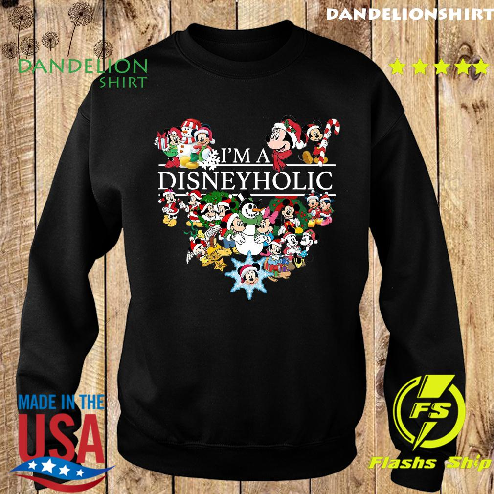 I Am A Disneyholic Mickey Disney Snowman Merry Christmas Sweatshirt