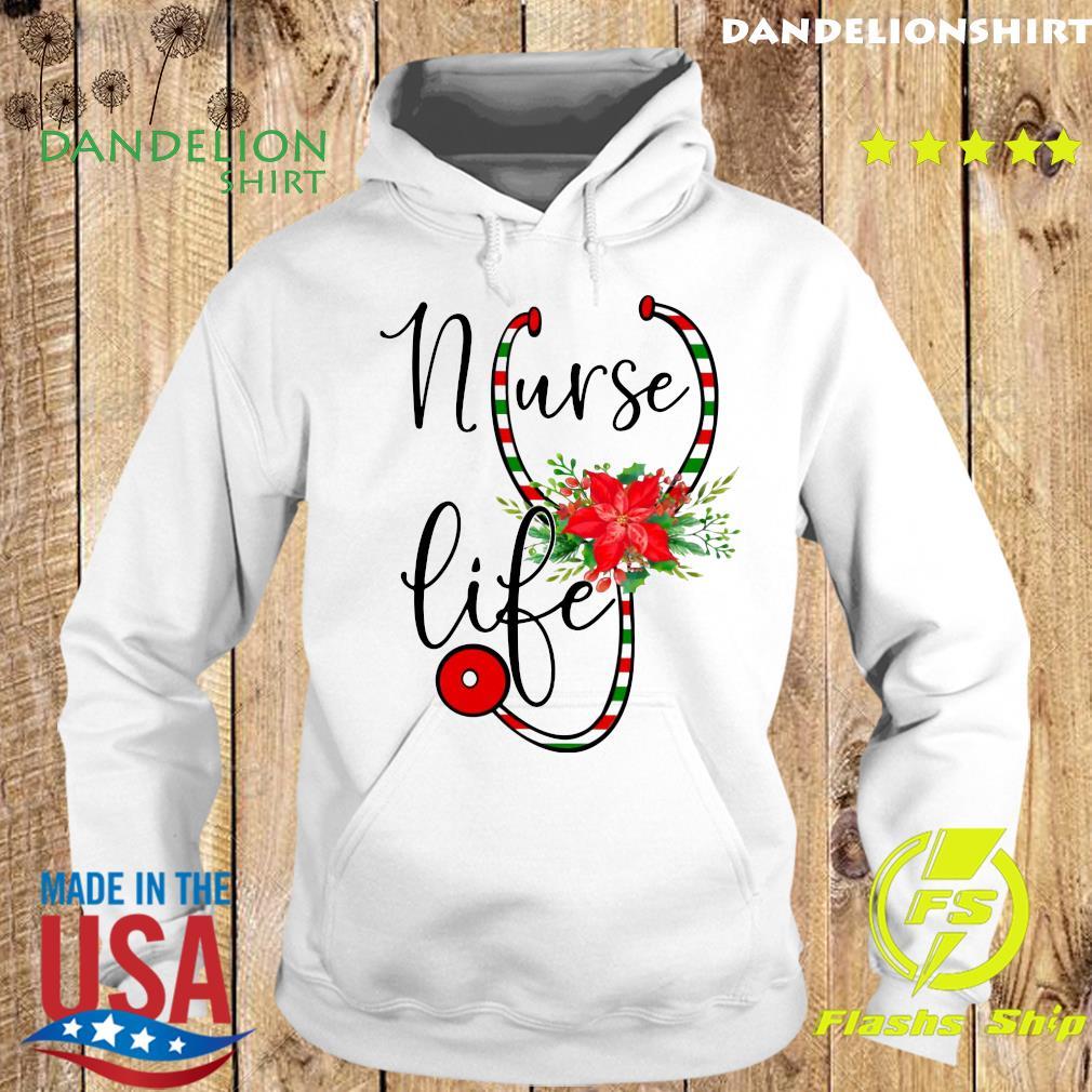 Nurse Floral Life Flower Merry Christmas Sweats Hoodie