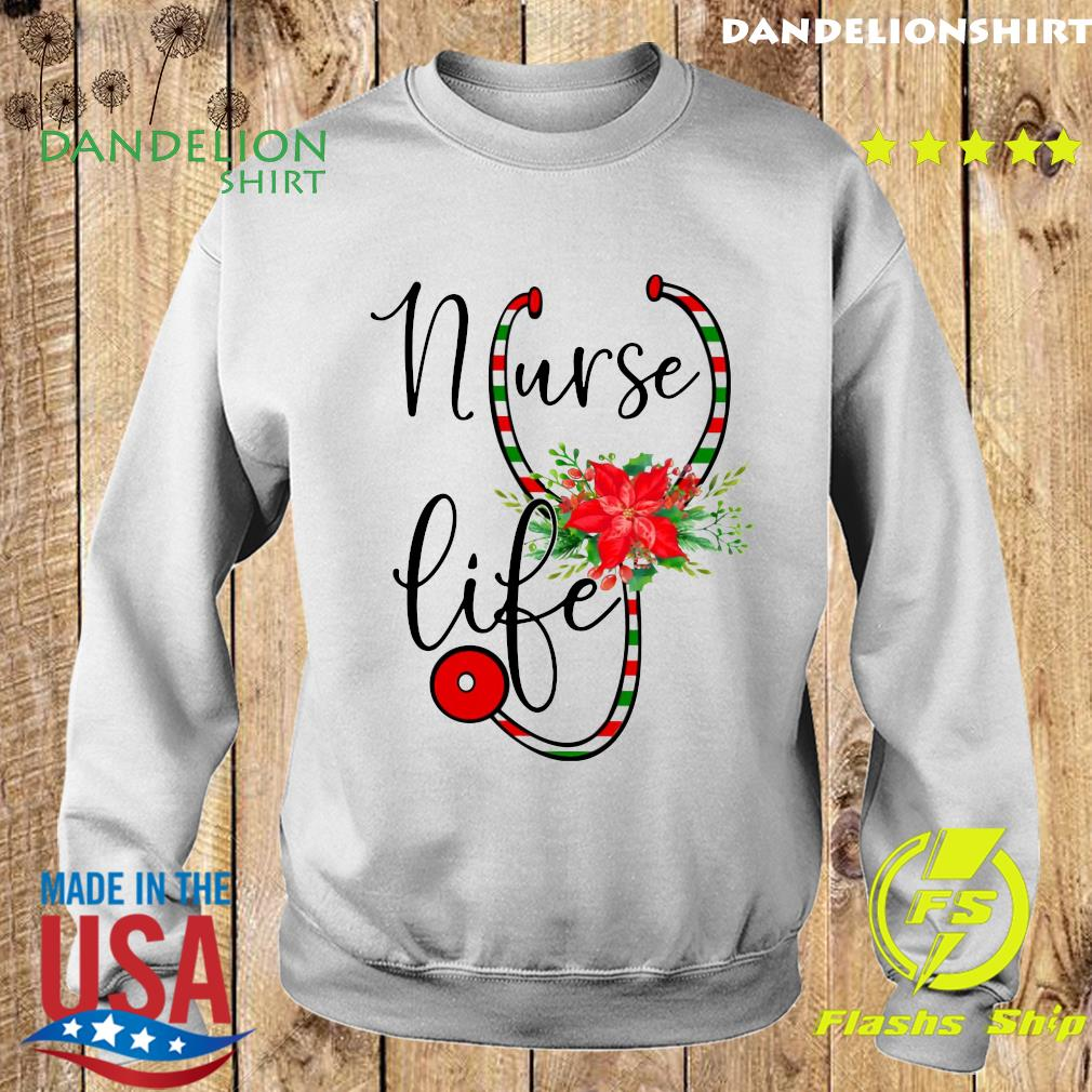 Nurse Floral Life Flower Merry Christmas Sweatshirt