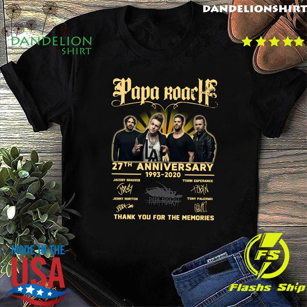 Papa Roach 27th Anniversary 1993 2020 Thank You For The Memories Signature T-Shirt