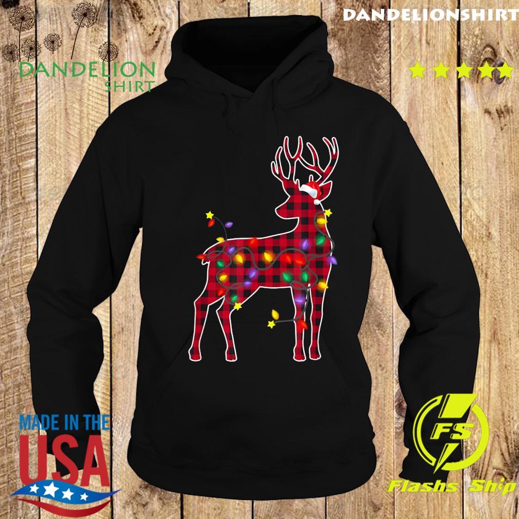 Red Plaid Buffalo Deer Christmas Pajamas Xmas Lights Sweats Hoodie