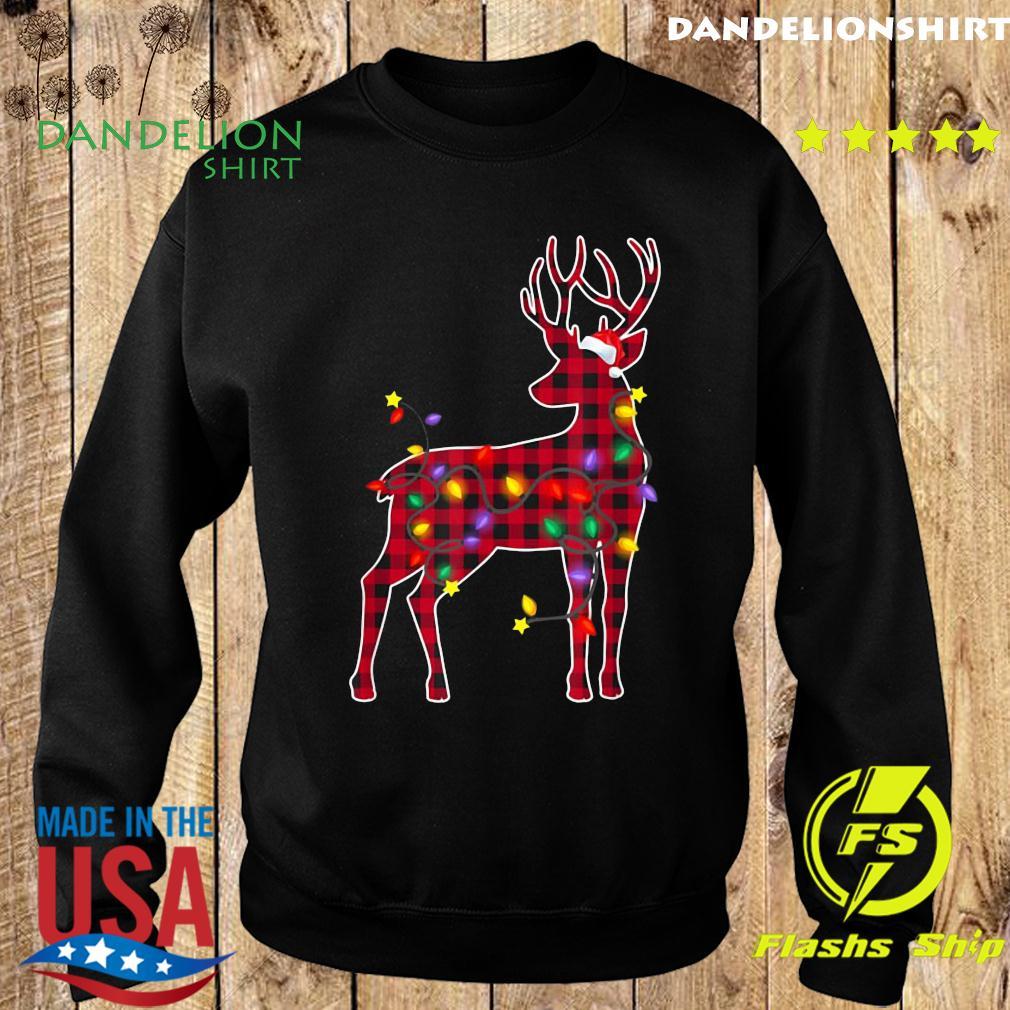 Red Plaid Buffalo Deer Christmas Pajamas Xmas Lights Sweatshirt