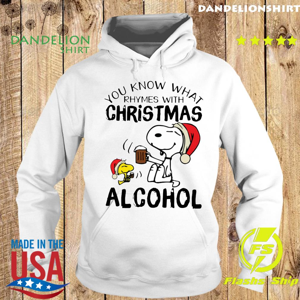 Snoopy And Woodstock You Know What Rhymes With Christmas Alcohol Sweats Hoodie