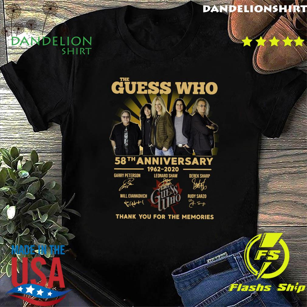 The Guess Who 58th Anniversary 1962 2020 Thank You For The Memories Signatures Shirt