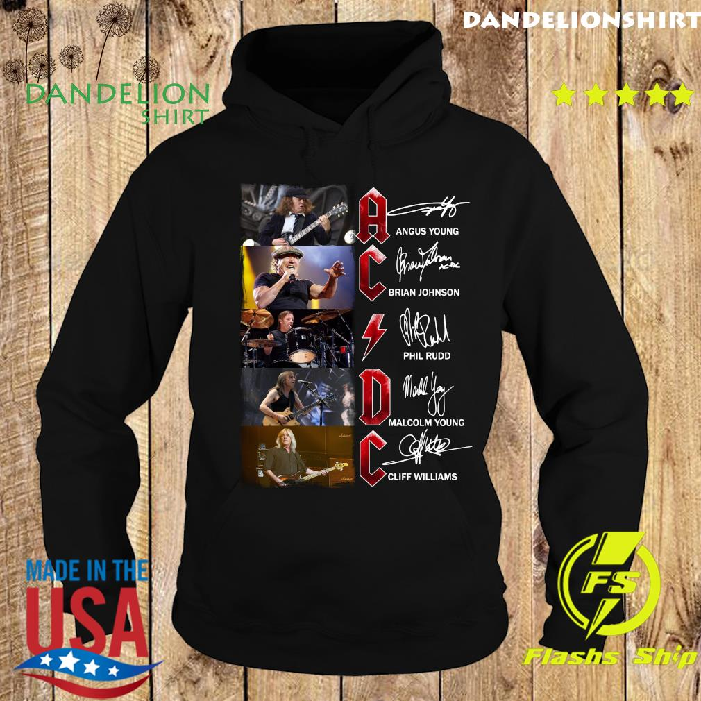 Ac Dc Angus Young Brian Johnson Phil Rudd Malcolm Young Cliff Williams Signatures Shirt Hoodie